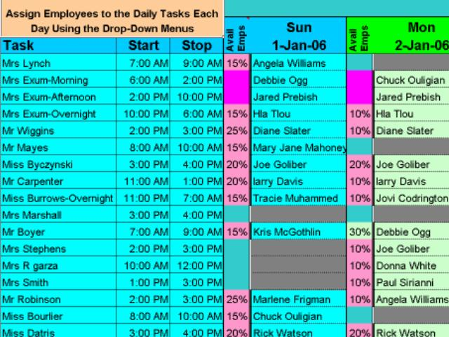 Screenshot review downloads of shareware schedule for Multiple employee schedule template