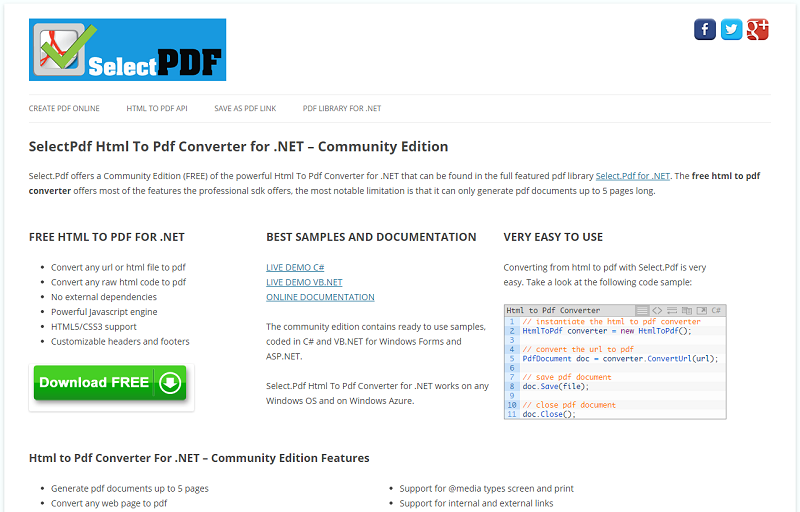 SelectPdf Html To Pdf Converter for .NET Download