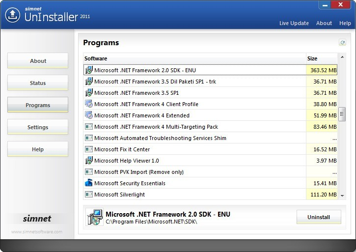 Simnet UnInstaller 2010 Download