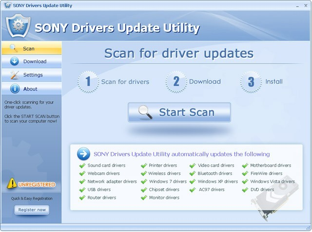 SONY Drivers Update Utility For Windows 7 64 bit Download