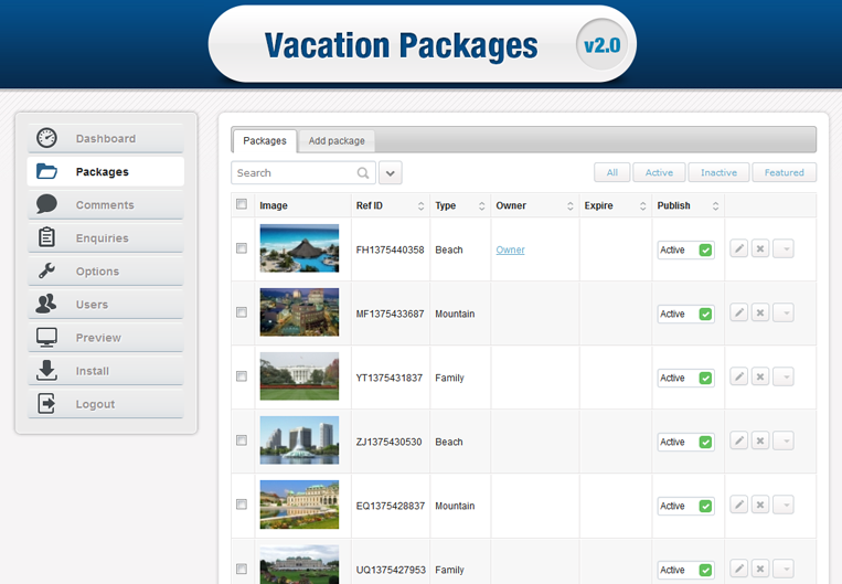 Stivasoft Vacation Packages Listing Download