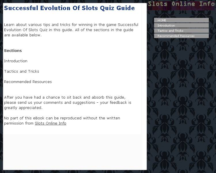 Successful Evolution Of Slots Quiz Guide Download