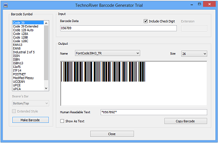 TechnoRiver Barcode Font Download