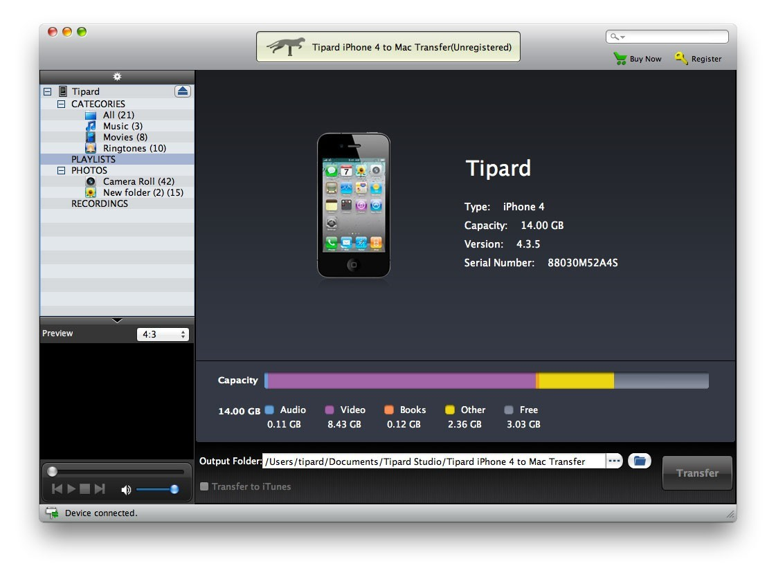 Tipard iPhone 4G to Mac Transfer Download