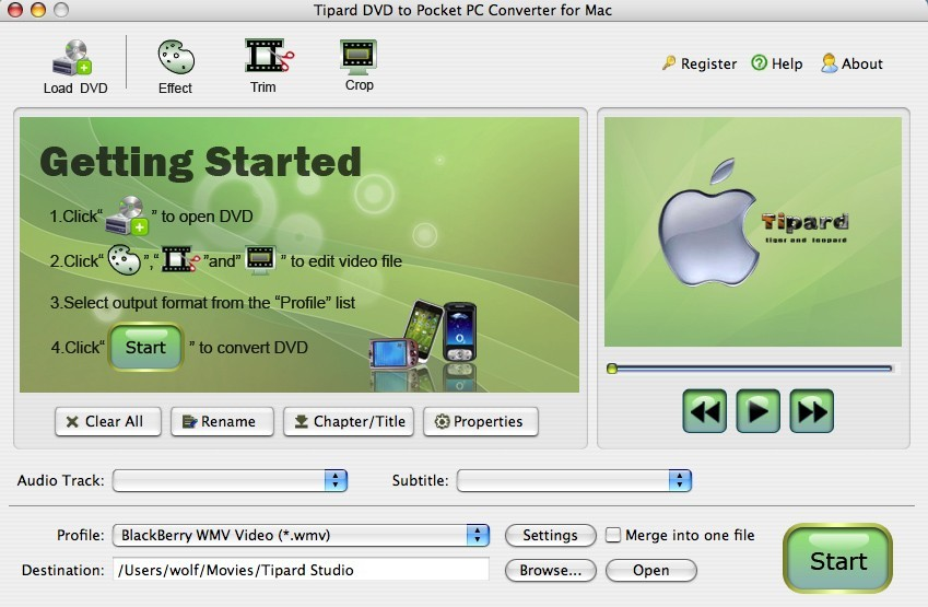 Tipard Mac DVD to Pocket PC Converter Download
