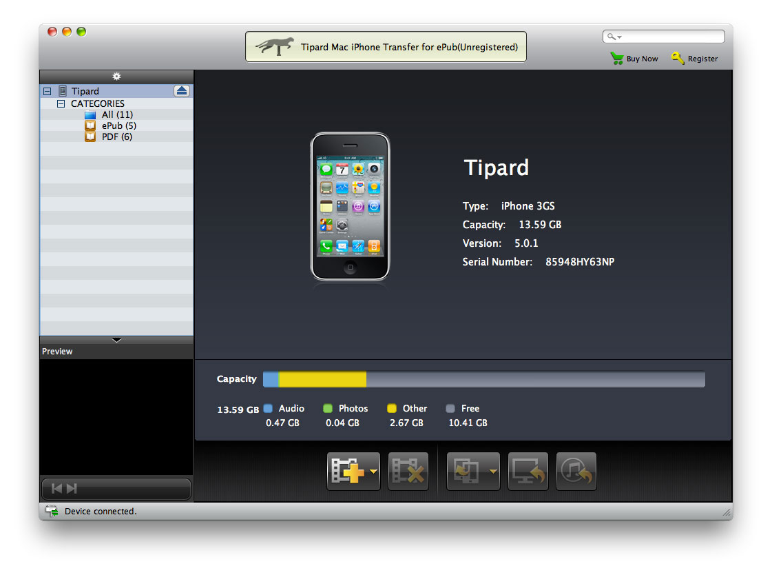Tipard Mac iPhone Transfer for ePub Download