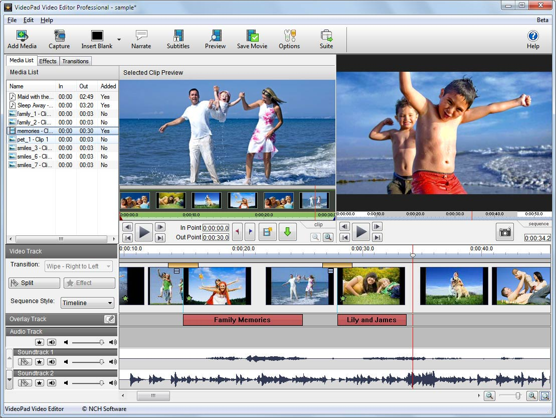 VideoPad Video Editing Software Download