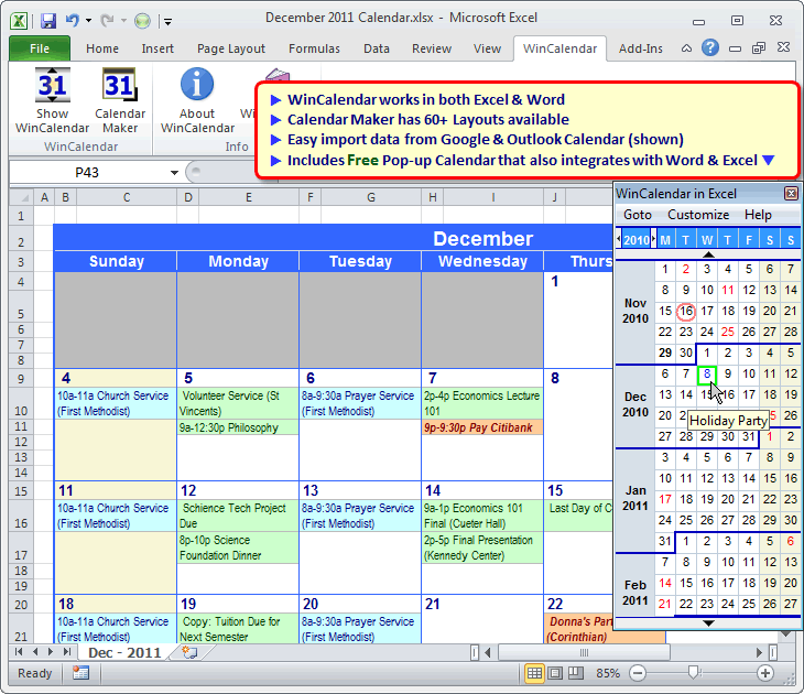 WinCalendar for Windows, Word&Excel Download