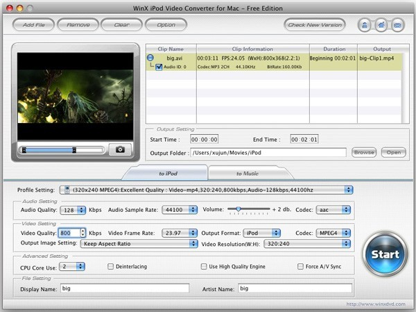 WinX iPod Video Converter for Mac Download