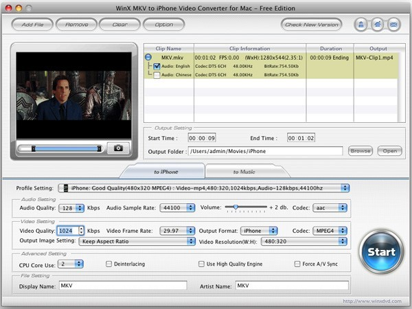 WinX MKV to iPhone Converter for Mac Download