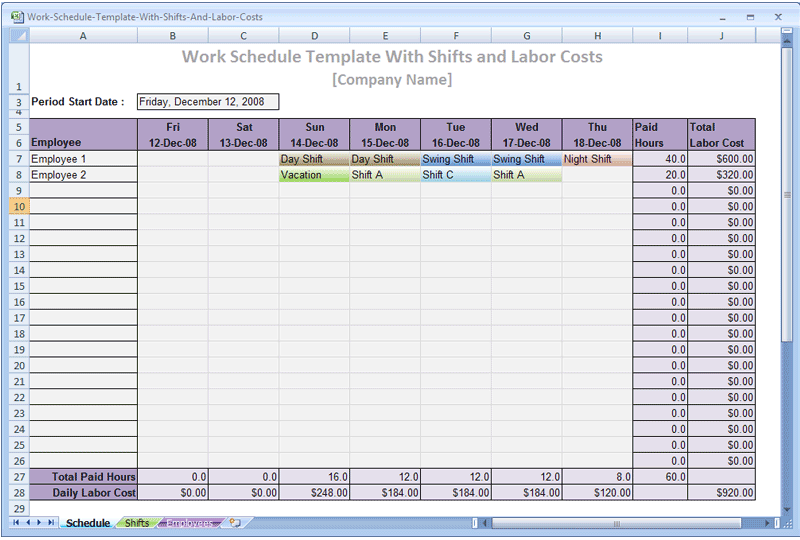 Screenshot Review Downloads Of Freeware Work Schedule