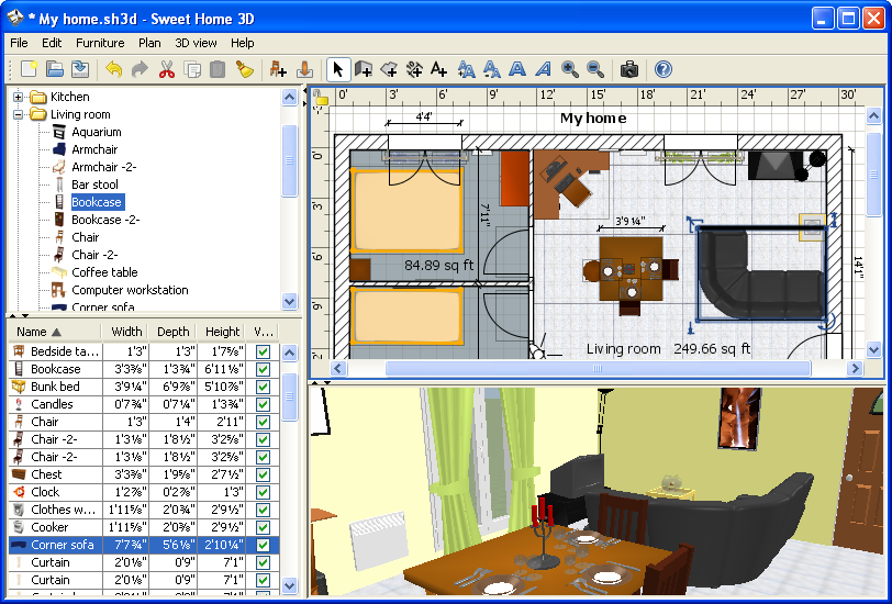 Screenshot Review Downloads Of Freeware X Sweet Home 3d