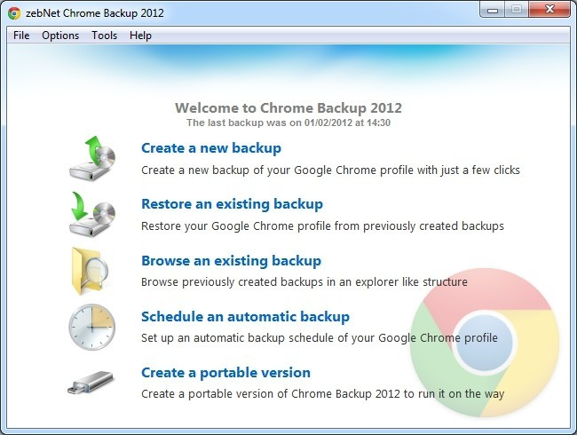 zebNet Chrome Backup 2012 Download