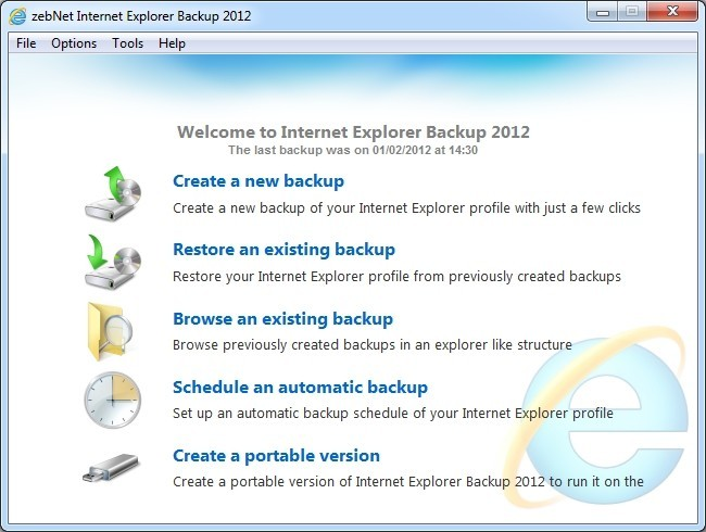 zebNet Internet Explorer Backup 2012 Download