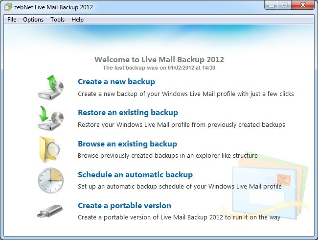 zebNet Live Mail Backup 2012 Download